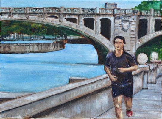 Jogger an der Isar,  Öl auf Leinwand, 30 x 40 cm. 2021