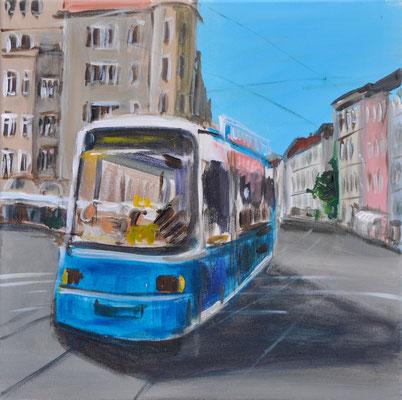 Münchner Tram, Acryl auf Leinwand, 40 x 40 cm, 2016