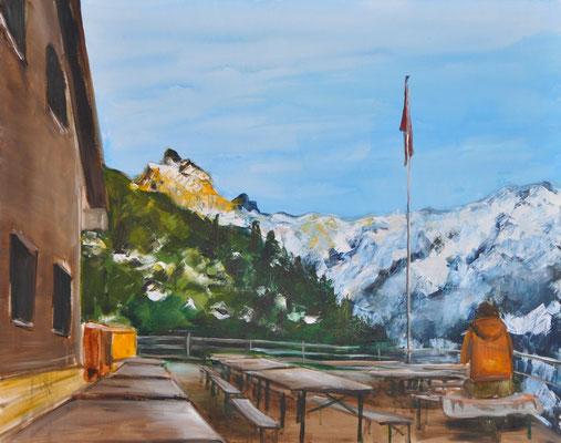 Berghütte im Winter, Acryl auf Leinwand, 80 x 100 cm, 2017