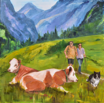 Bergszene, Acryl auf Leinwand, 90 x 90 cm, 2021