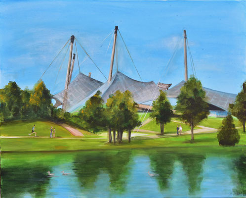 Olympiapark mit See, Acryl auf Leinwand, 80 x 100 cm, 2021