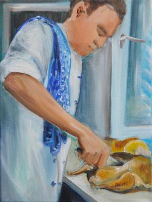 Koch, Acryl auf Leinwand, 50 x 40 cm, 2012, verkauft