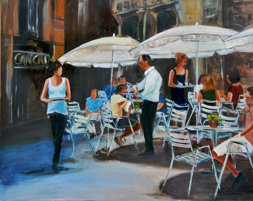 Straßencafé, Acryl auf Leinwand, 80 x 100 cm, 2014, verkauft