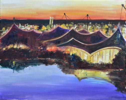 Olympiapark bei Nacht,  Öl auf Leinwand, 40 x 50 cm, 2021
