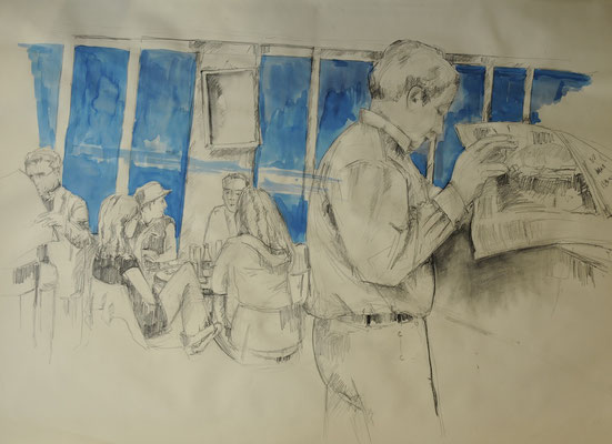 Café,  Zeichnung auf Papier, 60 x 80 cm, 2010