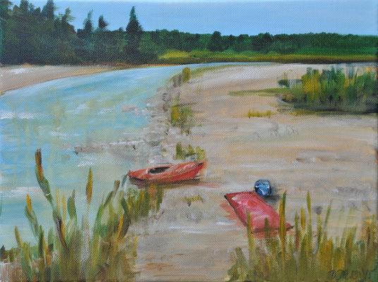 Kanus an der Isar, Acryl auf Leinwand, 60 x 80 cm, 2015