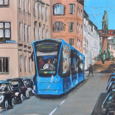Münchner Tram, Acryl auf Leinwand, 90 x 90 cm, 2016