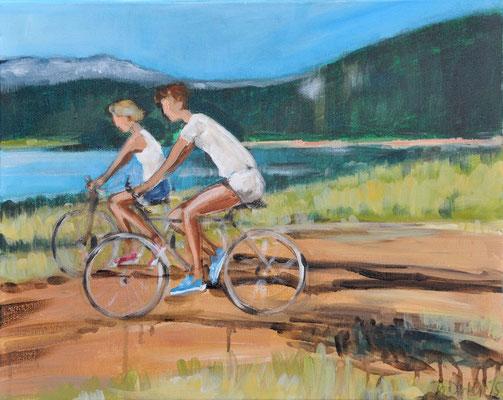 Radler, Acryl auf Leinwand, 50 x 40 cm, 2015