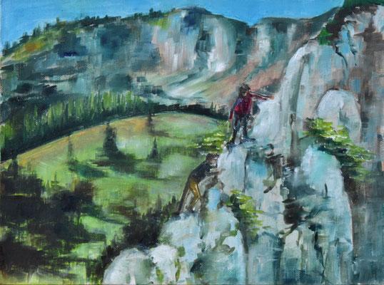 Kampenwand, Öl auf mit Leinwand bezogene Pappe, 30 cm x 40 cm, 2020, verkauft