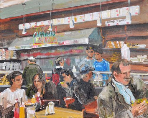 Sandwichlokal New York, Acryl auf Leinwand, 40 x 50 cm, 2015