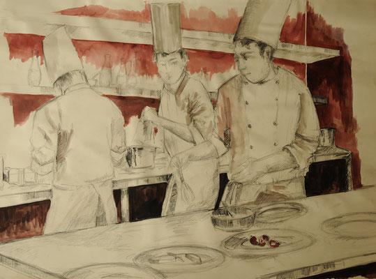 Köche,  Zeichnung auf Papier, 60 x 80 cm, 2010