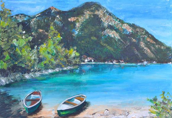 Am See, Acryl auf Leinwand, 70 x 100 cm, 2015, verkauft