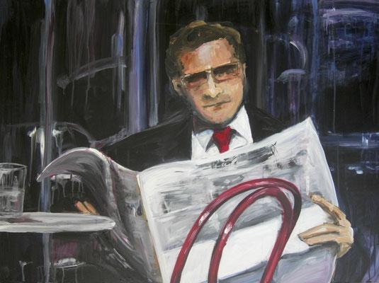 Zeitungsleser, Acrylmalerei, 80 x 100 cm, 2011
