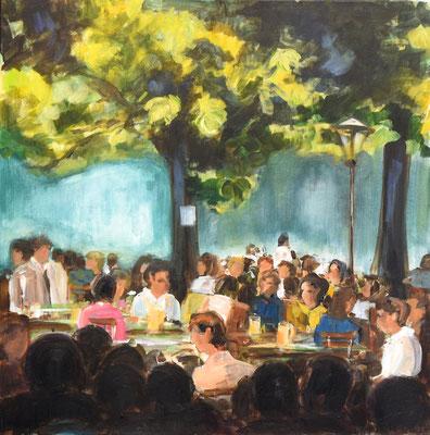 Biergarten Abendstimmung, Acryl auf Leinwand, 70 x 70 cm, 2018