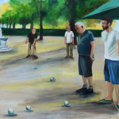 Boulespieler im Hofgarten, Acryl auf Leinwand, 80 x 80 cm, 2019