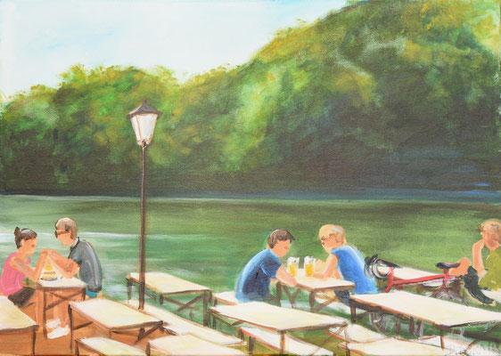 Biergarten Seehaus, Acryl auf Leinwand, 50 x 70 cm, 2018, verkauft