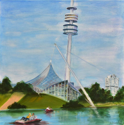 Olympiapark mit Tretbooten, Acryl auf Leinwand, 80 x 80 cm, 2021