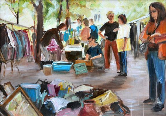 Flohmarkt, Acrylmalerei, 50 x 70 cm, 2012