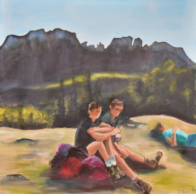 Bergszene, Kampenwand, Acryl auf Leinwand, 90 x 90 cm, 2020