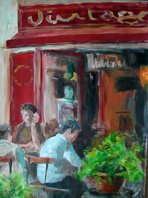 Straßencafé, Acrylmalerei, 80 x 60 cm, 2010