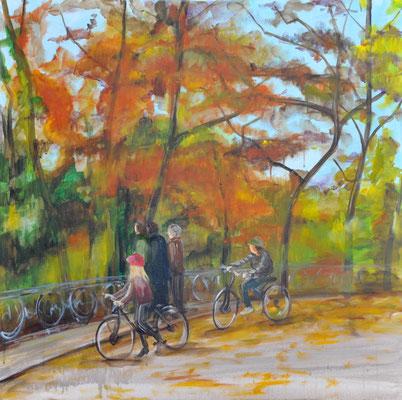 Herbst im Englischen Garten, Acryl auf Leinwand, 100 x 100 cm, 2015
