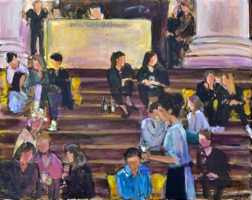 Stufenbar vor der Oper, Acryl auf Leinwand, 40 x 50 cm, 2019