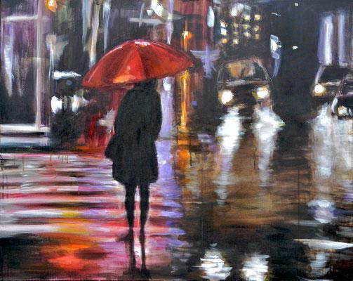 Mädchen im Regen, Acryl auf Leinwand, 80 x 100 cm, 2015, verkauft