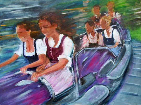 Berg- und Talbahn, Acrylmalerei, 60 x 80 cm, 2012, verkauft