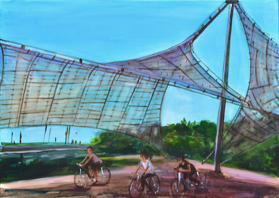 Olympiapark mit Radfahrern, Acryl auf Leinwand, 50 x 60 cm, 2021