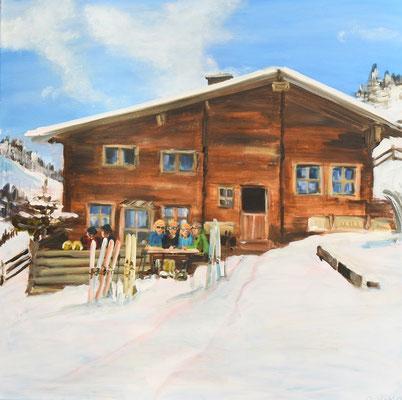 Berghütte im Winter, Acryl auf Leinwand, 90 x 90 cm, 2017, verkauft