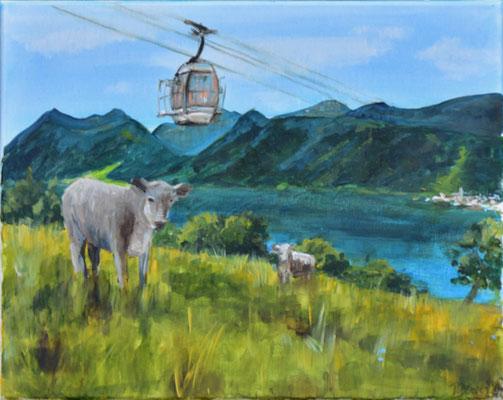 Bergszene mit Gondel, Acryl auf Leinwand, 40 x 50 cm, 2021