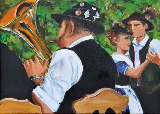 Waldfest, Acrylmalerei, 50 x 70 cm, 2012, verkauft
