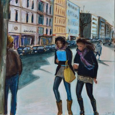 Mädchen auf der Straße, Acryl auf Leinwand, 70 x 70 cm, 2018