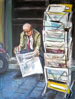 Zeitungsleser, Acrylmalerei, 80 x 60 cm, 2011, verkauft