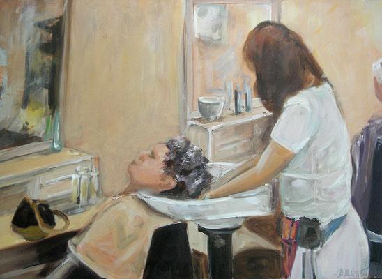 Beim Friseur, Acrylmalerei, 50 x 70 cm, 2010