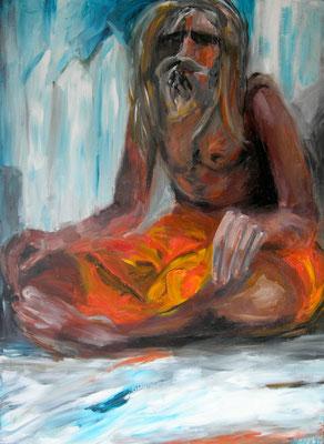 Sadhu, Acryl auf Leinwand, 180 x 140 cm, 1992, verkauft