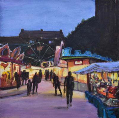 Auer Dult am Abend, Acryl auf Leinwand, 90 cm x 90 cm