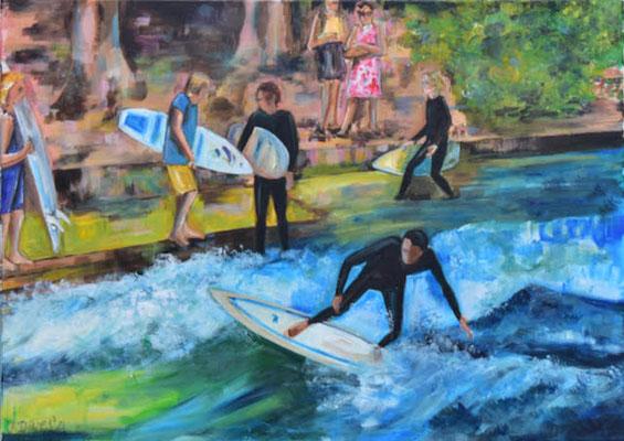 Surfer am Eisbach, Acryl auf Leinwand, 50 x 60 cm, 2021
