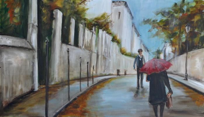 Straße bei Regen, Acryl auf Leinwand, 70 x 120 cm, 2016