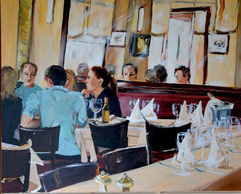 Im Restaurant, Acryl auf Leinwand, 80 x 100 cm, 2014