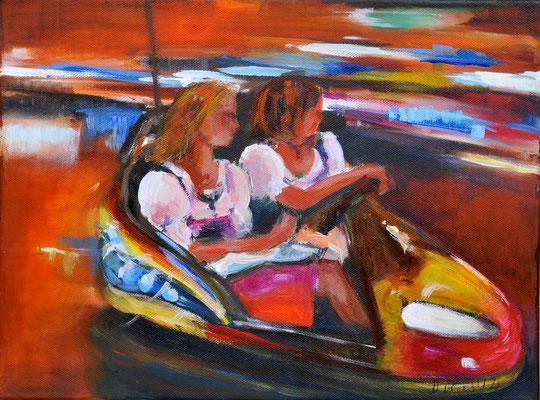 Autoscooter, Acrylmalerei, 80 x 120 cm, 2012