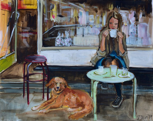 Café mit Hund,  Acryl auf Leinwand, 40 x 50 cm, 2018