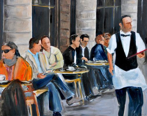 Straßencafé, Acryl auf Leinwand, 80 x 100 cm, 2014