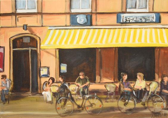 Straßencafé Schwabing, Acryl auf Leinwand, 50 x 70 cm, 2018