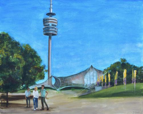 Olympiapark, Acryl auf Leinwand, 80 x 100 cm, 2021