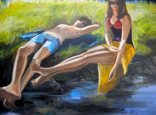 Am Bachufer, Acrylmalerei, 80 x 120 cm, 2011