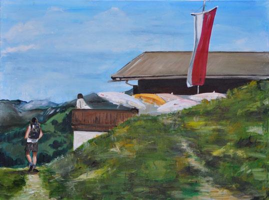 Berghütte, Acryl auf Leinwand, 60 x 80 cm, 2017