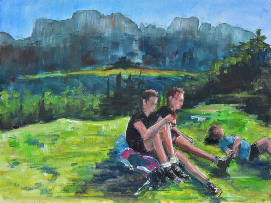 Bergszene, Kampenwand, Öl auf mit Leinwand bezogene Pappe, 30 cm x 40 cm, 2020