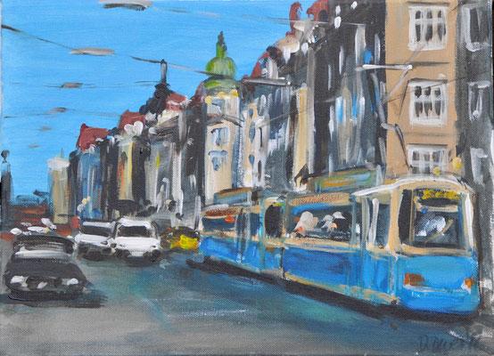 Münchner Tram, Acryl auf Leinwand, 30 x 40 cm, 2016, verkauft