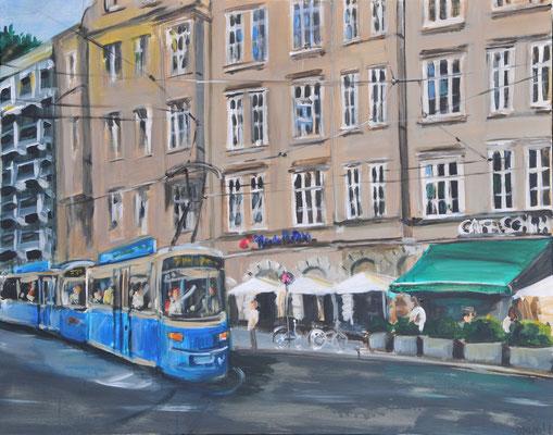 Münchner Tram, Acryl auf Leinwand, 80 x 100 cm, 2016